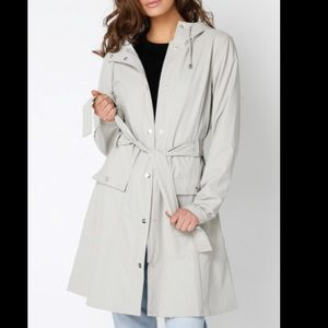 Rains hooded long rain jacket